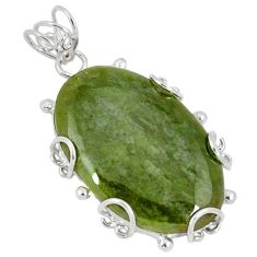 925 sterling silver natural green serpentine oval shape pendant jewelry k37630