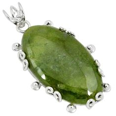 925 sterling silver natural green serpentine oval shape pendant jewelry k37635