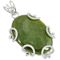 Natural green serpentine 925 sterling silver pendant jewelry k37636