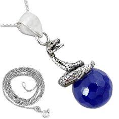 925 sterling silver blue jade ball shape snake 18' chain pendant k38255