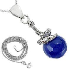 925 sterling silver blue jade ball shape snake 18' chain pendant k38256