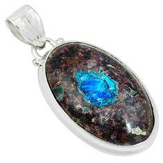 Natural blue cavansite 925 sterling silver pendant jewelry k38904