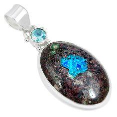 Natural blue cavansite topaz 925 sterling silver pendant jewelry k38909