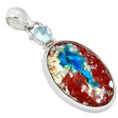 Natural blue cavansite topaz 925 sterling silver pendant jewelry k38912