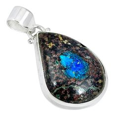 Natural blue cavansite pear 925 sterling silver pendant jewelry k38917
