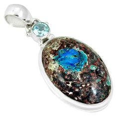 Natural blue cavansite topaz round 925 sterling silver pendant jewelry k38919