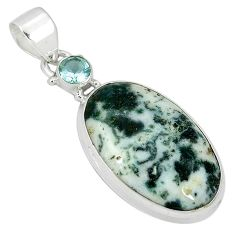 Natural white tree agate topaz 925 sterling silver pendant jewelry k38929