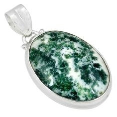 Natural white tree agate 925 sterling silver pendant jewelry k38930