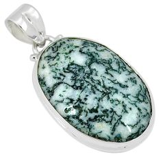 925 sterling silver natural white tree agate oval pendant jewelry k38932