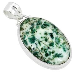 Natural white tree agate 925 sterling silver pendant jewelry k38934