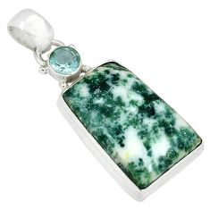 Natural white tree agate blue topaz 925 sterling silver pendant jewelry k38935