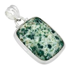 925 sterling silver natural white tree agate octagan pendant jewelry k38937