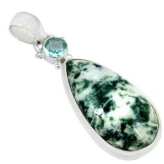 Natural white tree agate pear blue topaz 925 sterling silver pendant k38938