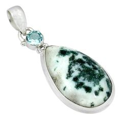 925 sterling silver natural white tree agate blue topaz pendant jewelry k38939
