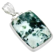 Natural white tree agate octagan 925 sterling silver pendant jewelry k38940