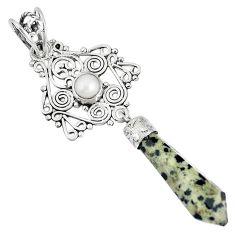 Natural brown dalmatian fancy pearl 925 sterling silver pendant pointer k38963