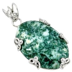Natural white tree agate 925 sterling silver pendant jewelry k40921