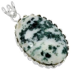 Natural white tree agate 925 sterling silver pendant jewelry k40935