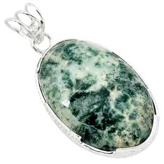 925 sterling silver natural white tree agate oval pendant jewelry k40938