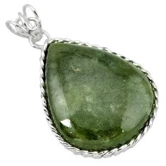 Natural green serpentine 925 sterling silver pendant jewelry k40961