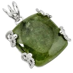 Natural green serpentine 925 sterling silver pendant jewelry k40962