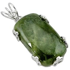 925 sterling silver natural green serpentine pendant jewelry k40963