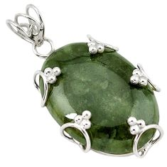 Natural green serpentine 925 sterling silver pendant jewelry k40964