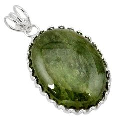 Natural green serpentine oval 925 sterling silver pendant jewelry k40965