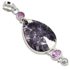 Natural purple chevron amethyst amethyst pearl 925 sterling silver pendant k4875