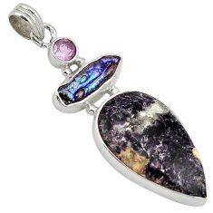 Natural purple chevron amethyst amethyst 925 sterling silver pendant k4892