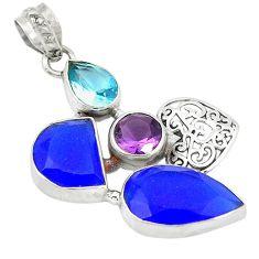 Blue jade purple amethyst quartz 925 sterling silver pendant jewelry k53628