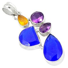 Blue jade amethyst quartz 925 sterling silver pendant jewelry k53629