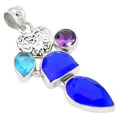 925 sterling silver blue jade purple amethyst quartz pendant jewelry k53635