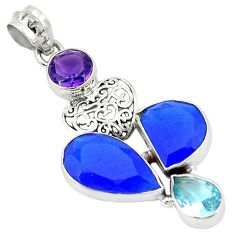 Blue jade amethyst quartz 925 sterling silver pendant jewelry k53636