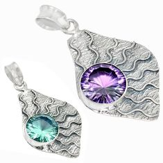 925 sterling silver purple alexandrite (lab) round pendant jewelry k53848