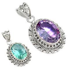 Purple alexandrite (lab) oval 925 sterling silver pendant jewelry k53851