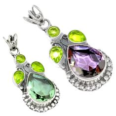 925 sterling silver purple alexandrite (lab) green peridot pendant k53855