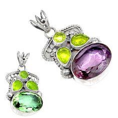 Purple alexandrite (lab) green peridot 925 sterling silver pendant k53860