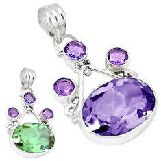 Green alexandrite (lab) amethyst 925 sterling silver pendant jewelry k53978