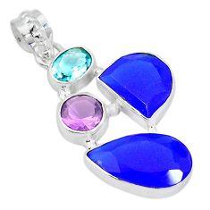 Blue jade amethyst topaz 925 sterling silver pendant jewelry k54668