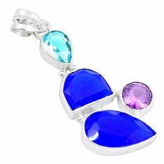 925 sterling silver blue jade amethyst topaz pendant jewelry k54669