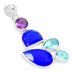 Blue jade amethyst topaz 925 sterling silver pendant jewelry k54670