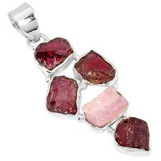 Natural red garnet rough kunzite rough 925 silver pendant k55621