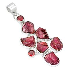 Natural red garnet rough garnet 925 sterling silver pendant k55623
