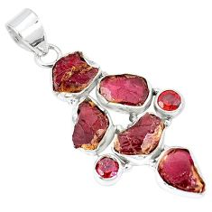 Natural red garnet rough garnet 925 sterling silver pendant k55628