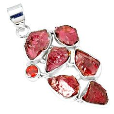 Natural red garnet rough garnet 925 sterling silver pendant k55633