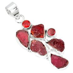 Natural red garnet rough garnet 925 sterling silver pendant k55634