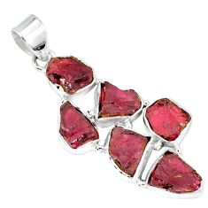 Natural red garnet rough 925 sterling silver pendant jewelry k55637