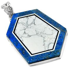 49.39cts natural white howlite lapis 925 sterling silver pendant jewelry k61639
