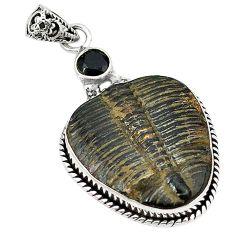 Natural black trilobite onyx 925 sterling silver pendant jewelry k62092